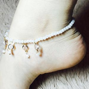 Faux Pearl Hollow Out Round Alloy Tassel Beaded Anklets - WHITE