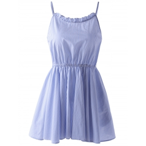 Casual Striped Spaghetti Straps Dress - Blue And White - S