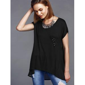 Stylish Round Neck High Low Hem Stud Embellished Long T-Shirt For Women -