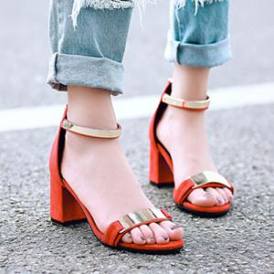 Stylish Metal and Zipper Design Sandals For Women -
