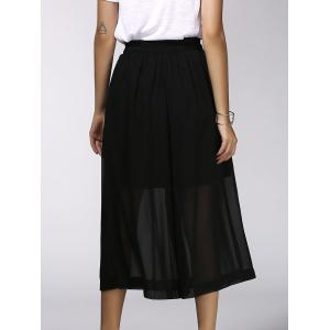 Fashionable Elastic Waist Solid Color Chiffon Women's Wide Leg Pants -