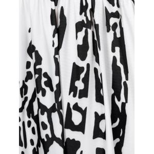 Open Back Abstract Print Dress - WHITE XL