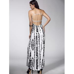 Maxi Backless Abstract Print Casual Slip Dress - WHITE XL