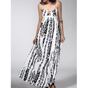 Maxi Backless Abstract Print Casual Slip Dress - White - Xl