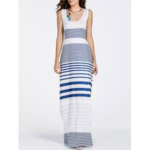 U Neck Back Cut Out Striped Maxi Dress