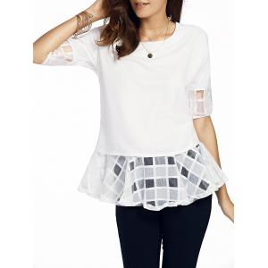 Sweet Round Neck Half Sleeve Bowknot Design Spliced Women's Chiffon Blouse
