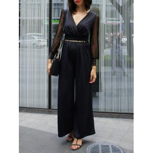 Stylish V-Neck Long Sleeve Wide-Leg Jumpsuit For Women - Black - One Size