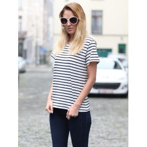 Casual Cuffed Sleeve Striped Pullover T-Shirt For Women - STRIPE S
