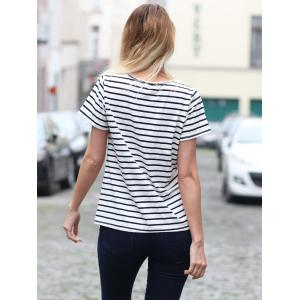 Casual Cuffed Sleeve Striped Pullover T-Shirt For Women -
