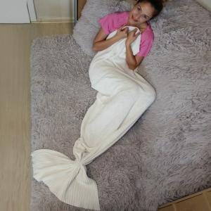 Fashion Cotton Knitting Summer Mermaid Shape Blanket -