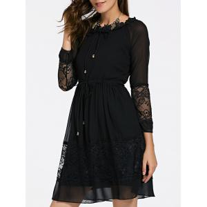 Elegant Jewel Neck Long Sleeves Lace Up Dress For Women - Black - S