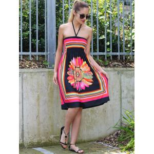 Halter Sleeveless Bohemian Floral Summer Dress -