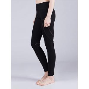 Sporty Solid Color Stretchy Voile Patchwork Yoga Pants For Women -
