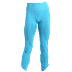 Sporty Solid Color Capri Pants For Women - Blue - M