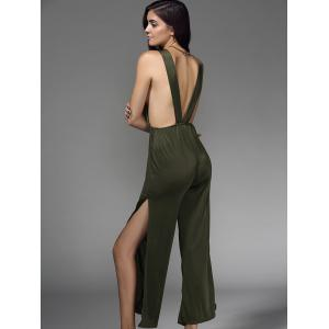 Stylish Sleeveless Plunging Neck Hollow Out Women's Jumpsuit -