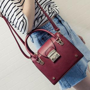 Trendy Metallic and PU Leather Design Tote Bag For Women -
