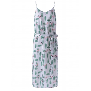 Spaghetti Straps Condole Belt Dress with Feather Print - White And Green - M