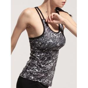 Sportive Women's Printed Faux Twinset Skinny Gym Tank Top -