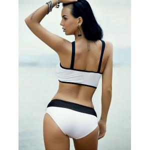 Women's Stylish Hollow Out Hit Color Bikini - WHITE AND BLACK L