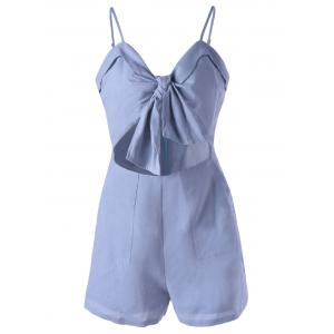Spaghetti Strap Cut Out Romper - Light Blue - Xl