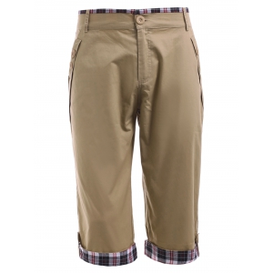 Checked Crimping Chino Capri Pants