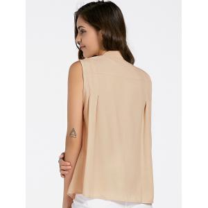 Chic V-Neck Sleeveless Pocket Design Blouse For Women -