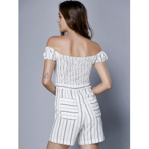 Chic Women's Off The Shoulder Striped Romper - STRIPE XL