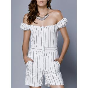 Chic Women's Off The Shoulder Striped Romper