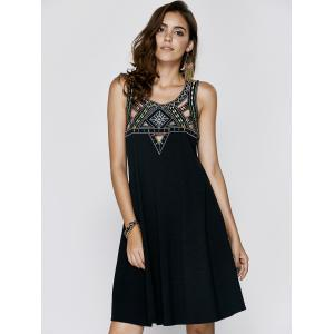 Vintage Sleeveless Hollow Out Rhinestone Design Women's Cami Dress - BLACK XL