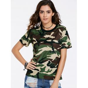 Fashionable Round Neck Short Sleeve Camouflage Print Mesh Design T-Shirt For Women -