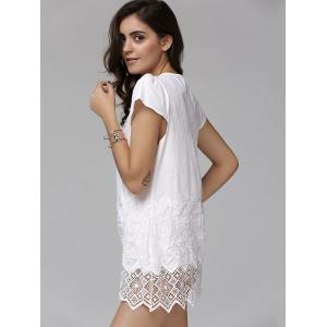 Fashionable Plunging Neck Short Sleeve Crochet Top For Women -