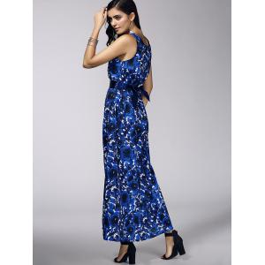 Fashionable Plunging Neck Floral Print Belted Dress For Women -