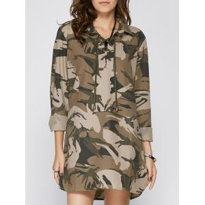 Long Sleeve Lace Up Camo Long Tunic Shirt Dress