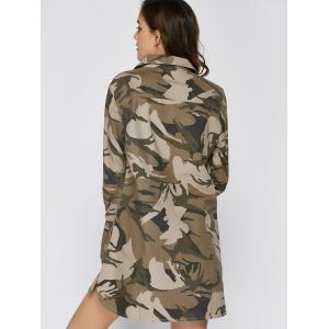 Long Sleeve Lace Up Camo Long Tunic Shirt Dress - CAMOUFLAGE L
