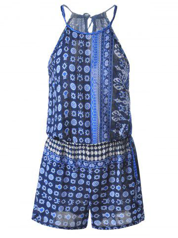 Best Bohemian Lace-Up Backless Abstract Printing Drawstring Romper For Women