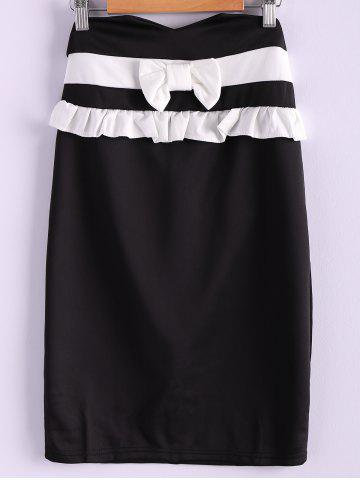 Outfit Contrast Bowknot Midi Pencil Skirt BLACK S