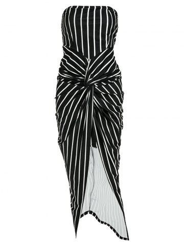 Outfit Striped High Slit Strapless Tube Midi Bodycon Dress