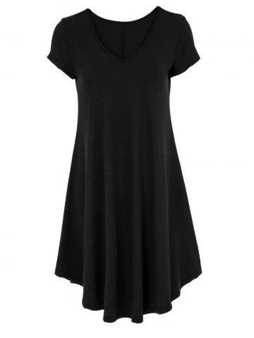 V-Neck Ruffled Casual Tunic Dress With Sleeves - Black - M