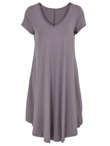 Latest V-Neck Ruffled Casual Tunic Dress With Sleeves COFFEE 2XL