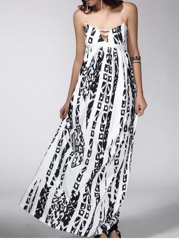Fancy Open Back Abstract Print Dress WHITE XL