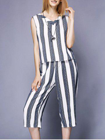 Hot Brief V-Neck Striped Tank Top+Wide Leg Pants Twinset For Women