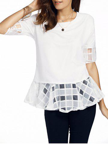 Shop Sweet Round Neck Half Sleeve Bowknot Design Spliced Women's Chiffon Blouse