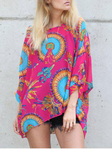 Hot Stylish Loose-Fitting Printed Women's Chiffon Blouse