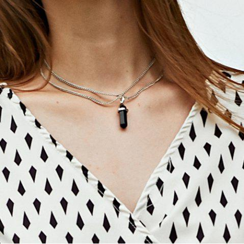 Bullet Faux Crystal Pendant Two Layered Link Chain Necklace - Black