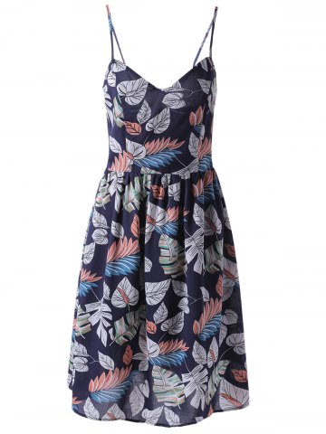 Shops Fashionable Printed Spaghetti Straps Dress For Women PURPLISHBLUE + WHITE S