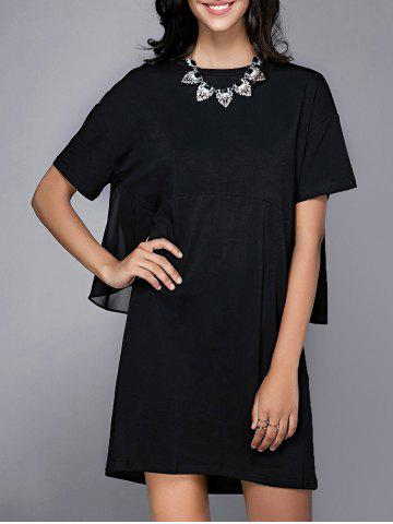 Outfit Trendy Short Sleeve Round Neck Spliced Faux Twinset Women's Chiffon Dress