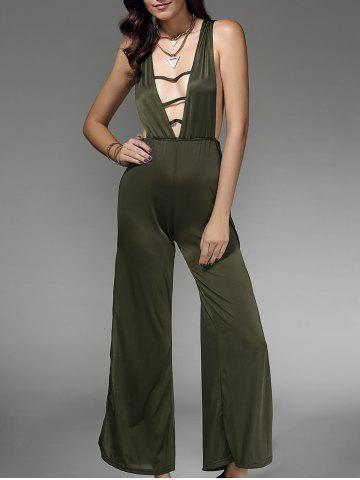 Sale Stylish Sleeveless Plunging Neck Hollow Out Women's Jumpsuit