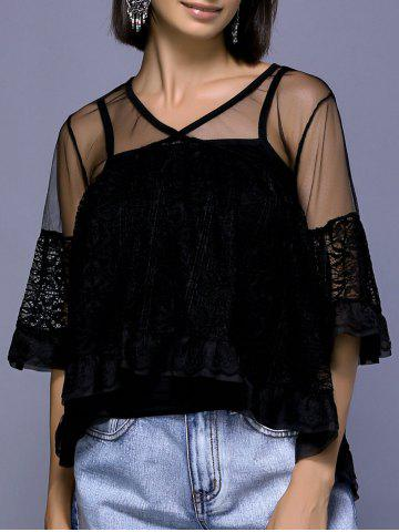 Outfit Stylish V-Neck Flare Sleeve See-Through Blouse Set For Women