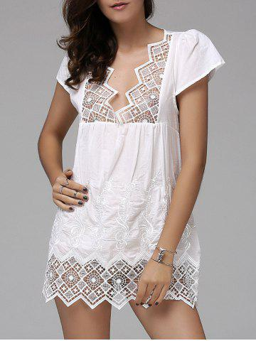 Fashion Fashionable Plunging Neck Short Sleeve Crochet Top For Women