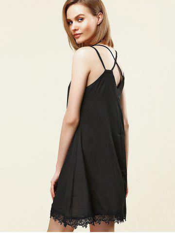 New Stylish Strappy Lace Embellished Dress For Women - S BLACK Mobile